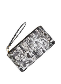 Faux Leather Magazine Print Wristlet - 3126067449038