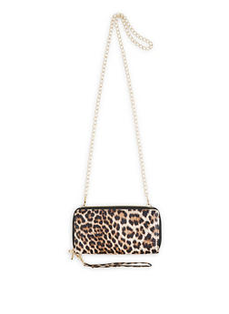 Leopard Print Double Zip Crossbody Wallet - 3126067449053