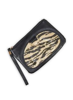 Tiger Print Faux Leather Wristlet - 3126067449057