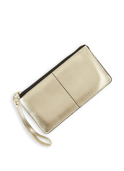 Textured Faux Leather Wristlet - 3126067449060