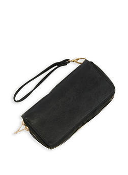 Faux Leather Double Zip Wristlet - 3126067449061