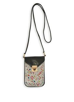 Jewel Studded Cellphone Crossbody Bag - 3126067449062