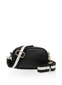 Striped Strap Crossbody Bag - 3126067449088