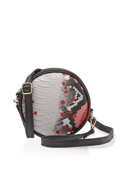 Snake Print Circle Crossbody Bag - 3126067449107