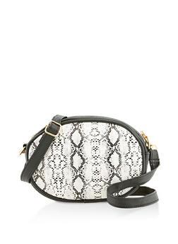Snake Print Oval Crossbody Bag - 3126067449109