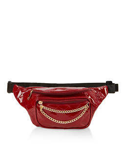 Faux Patent Leather Quilted Chain Fanny Pack - 3126067449111