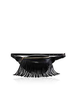 Faux Leather Fringe Belt Bag - 3126067449112