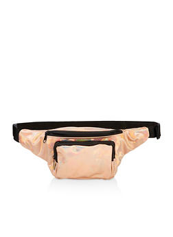 Faux Patent Leather Double Zip Fanny Pack - 3126067449117