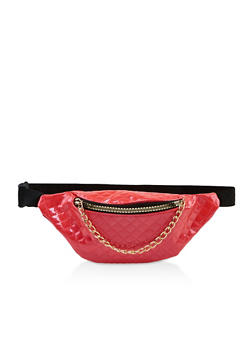 Quilted Faux Leather Zip Fanny Pack - 3126067449124