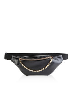 Faux Pearl Chain Zip Fanny Pack - 3126067449138