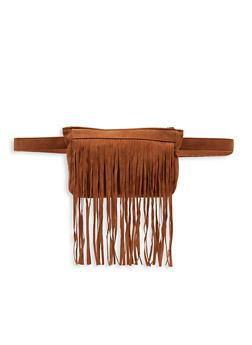 Faux Suede Fringe Belt Bag - 3126067449147