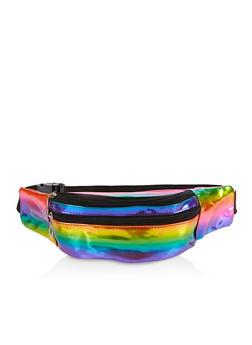Iridescent Rainbow Double Zip Fanny Pack - 3126067449158
