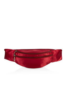 Double Zip Satin Fanny Pack - 3126067449162