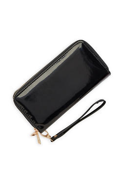 Faux Patent Leather Double Zip Wallet - 3126067449607