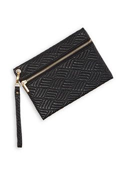 Quilted Faux Leather Wristlet - 3126067449922