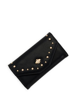 Studded Faux Leather Envelope Wallet - 3126071211023