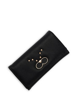 Studded Faux Leather Wallet - 3126071211024