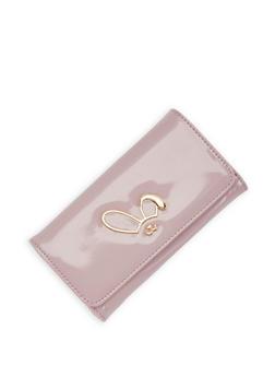 Metallic Bunny Detail Flap Wallet - 3126071211025