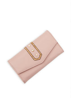 Faux Pearl Studded Wallet - 3126071211032