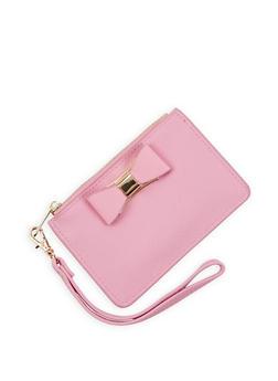 Faux Leather Bow Mini Wristlet - 3126071211034
