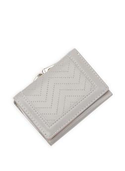 Faux Leather Kiss Lock Tri Fold Wallet - 3126071212001