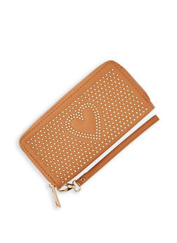 Heart Studded Zip Wallet - 3126071756900