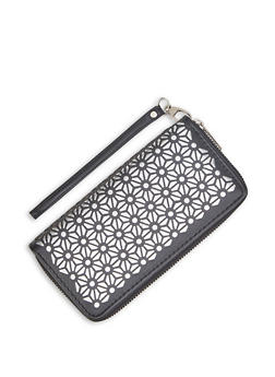 Laser Cut Zip Around Wallet - 3126071757022