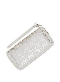 Laser Cut Zip Around Wallet - White - 3126071757022