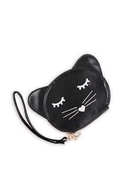 Faux Leather Cat Wristlet - 3126073401341