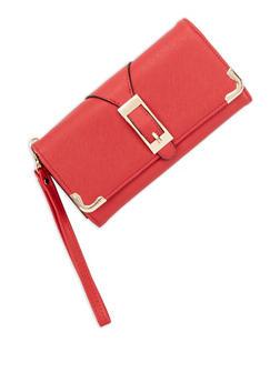 Faux Saffiano Leather Buckle Detail Flap Wallet - 3126073401351