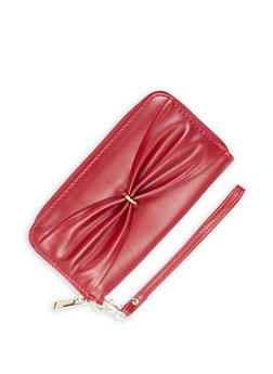 Faux Leather Bow Detail Zip Wallet - 3126073401381