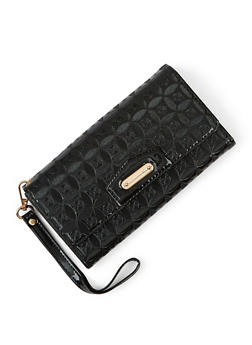 Embossed Faux Patent Leather Flap Wallet - 3126073893891