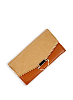 Faux Patent Leather Embossed Flap Wallet - 3126073896227