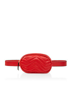 Quilted Faux Leather Belt Bag - 3126073896566