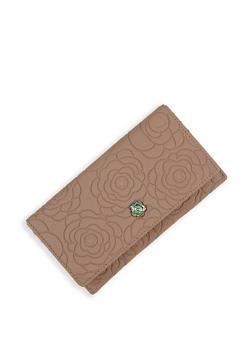 Flower Embossed Flap Wallet - 3126073897617