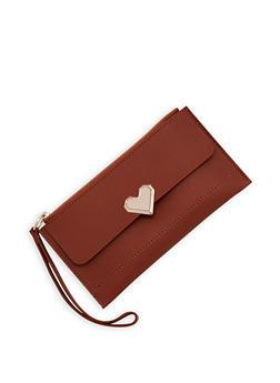 Metallic Heart Detail Faux Leather Clutch - 3126074390318