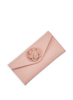 Pebbled Faux Leather Flower Envelope Wallet - 3126074390383