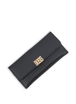 Metallic Boss Detail Faux Leather Wallet - 3126074390387