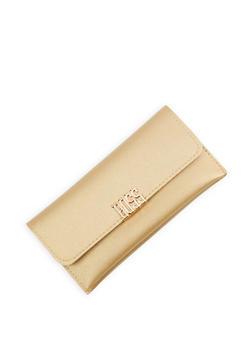 Metallic Boss Detail Faux Leather Wallet - 3126074390387