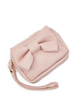 Faux Leather Bow Wristlet - 3126074391007