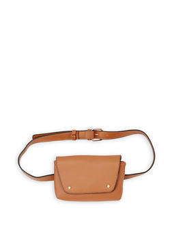 Faux Leather Belt Bag - COGNAC - 3126074391804