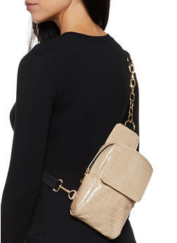 Embossed Faux Leather Crossbody Bag - 3126074391996
