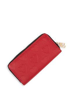 Double Zip Heart Embossed Wallet - 3126074392122