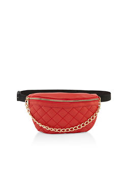Quilted Chain Detail Fanny Pack - 3126074399603