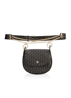 Chain Strap Faux Leather Belt Bag - 3126074399899