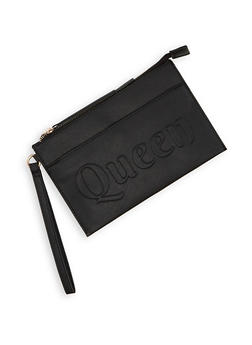 Queen Embossed Faux Leather Wristlet - 3126074399900