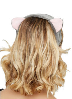 Plush Animal Ear Spa Headband - GRAY - 3127072501702