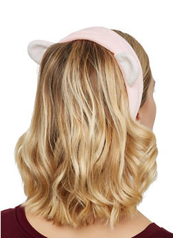 Plush Animal Ear Spa Headband - PINK - 3127072501702