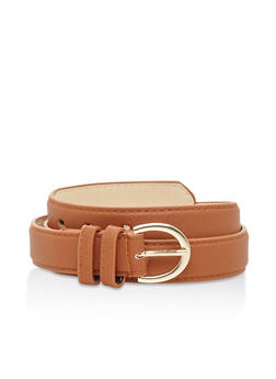 Textured Faux Leather Belt - 3128061591275