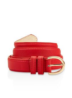 Plus Size Faux Saffiano Leather Belt - 3128061593572